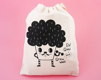 Eat Good and Grow Well The Broccoli Silkscreen Drawstring Pouch - Reusable, Washable & Eco Friendly Cotton Bag - Wedding Favors Pouch