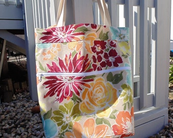 Extra Large Beach Bag, Family Size Tote Bag, Floral Print Tote Bag