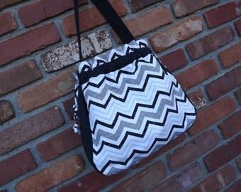 SALE*******Bucket Bag, Canvas Purse, Women's Fall Purse, Black Chevron Print