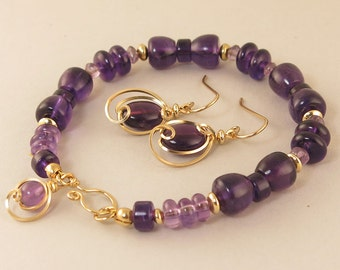 Purple Amethyst Bracelet Gold Gift Set, Unique Gemstone Beaded Bracelet and Earrings Jewelry Gift For Her, Amethyst Jewelry