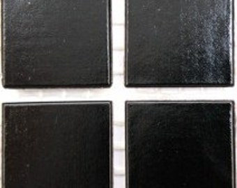 "20mm (3/4"") Black Vitreous Beveled Glass Mosaic Tiles//Mosaic Supplies//Mosaic Pieces//Crafts"