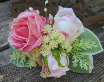 Pink  Roses hair flower -  Cluster hair clip