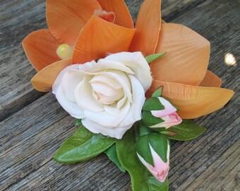 Hawaiian - Tropical - Coral - White Rose hair clip - Wedding-