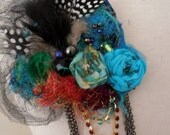 turquoise blue red silk  feathers and beaded mesh brooch boho shabby chic brooch tattered textile brooch