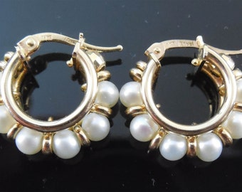 Gorgeous European 14K Gold & Pearl Earrings - Italy