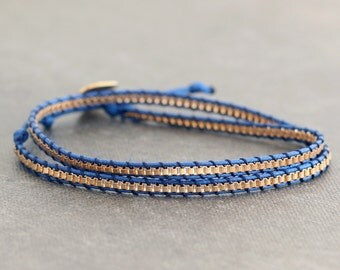 Blue Copper Cube Chain Wrap Bracelet Necklace