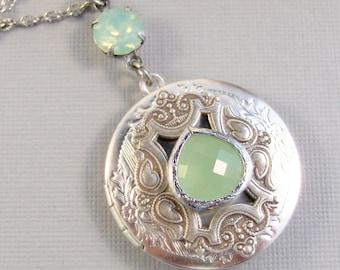 SALE Succulent Peridot,Locket,Green Locket,Peridot,Jewelry,Peridot Locket,Locket,Silver Locket,Green Locket,August Birthstone, valleygirldes