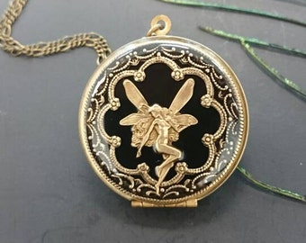 Antique brass Fairy Locket Pendant Necklace - Vintage Antique brass Ornately Decorated Pendant Jewelry