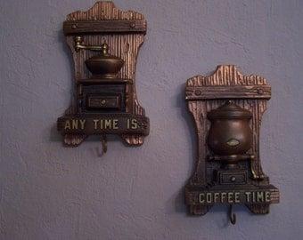 Vintage Kitchen Coffee Plaques Chalkware, (2) Metallic Copper Finish, Chalk Ware,Miller Studios, Coffee Time,  Retro 70s Kitchen