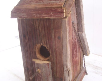 Rustic Barn Board Bird House, Chalet Style, Hand Made, Red Barn Wood, Rustic Farmhouse Decor