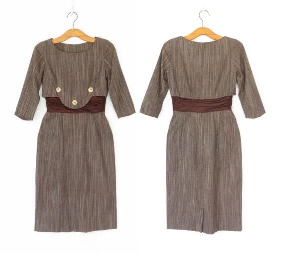 Vintage 50s Dress * 1950s Wiggle Dress * Pencil Dress * Silk Stomacher * XS Small