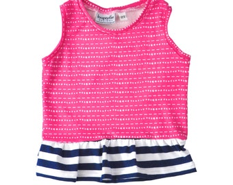 Peplum Top | Hot Pink Tic Tac and Navy Stripes | Sizes 3 Months to 7/8 | girl top, stripes, baby girl, ruffle shirt