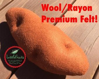 Felt Yam Pretend Play Food - Life Size Felt Yam - Big Felt Sweet Potato Children's Play Food - Kids Garden Vegetable Yam - Orange Potato Toy