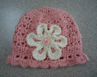 Crocheted Baby Girl Hat in Peach