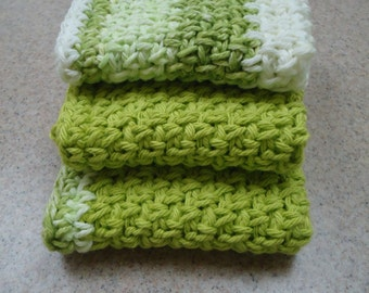 Set of Three Handmade Wash Cloths or Dish Cloths in Shades of Green and White