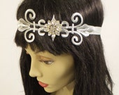 Art Deco, Headband, 20's Headband, Embroidered Rhinestone Headband, Flapper Headband