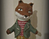 Mr. Fox- papier mache- folk art- handmade art doll- fox doll - ooak doll