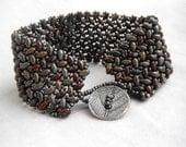 Herringbone Superduo Cuff Bracelet - Rustic, Moss Green, Pewter, Rust Red, Bronze