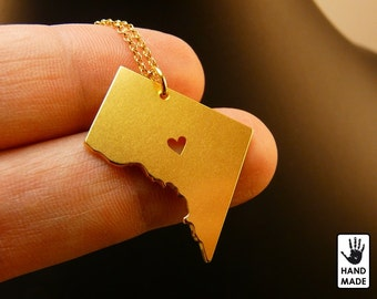 WASHINGTON DC Map Handmade Personalized Goldplated Sterling Silver .925 Necklace in a gift box