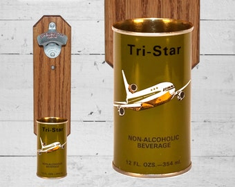 Tri Star Airline Wall Mounted Bottle Opener with Vintage Beer Can Cap Catcher - Gift for Pilots or Groomsmen
