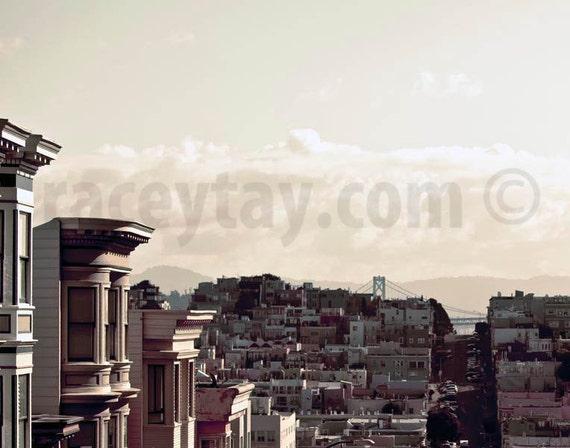 San Francisco Art, Bay Bridge, Beige, Pastel, Neutral, Travel, California Print, Bay Bridge SF, San Francisco Print, Pale