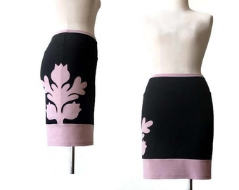 Pencil skirt, Black pencil skirt, Skirt with applique, Jersey skirt, Handmade skirt, Womens clothing, Womens skirts, Handmade custom skirt