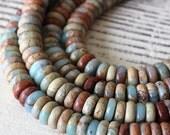 African Opal 8x3mm Rondelle Beads - Jewelry Making Supply - Gemstone Rondelle - Aqua Terra Jasper Beads - Choose Amount
