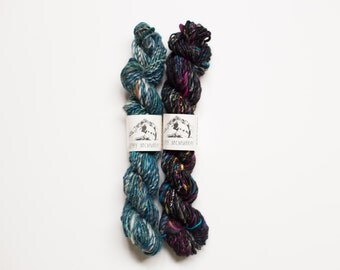 Two skein yarn set // handspun art yarn for weaving, single ply, 30 yards