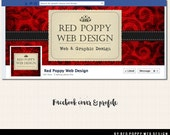 Facebook Cover Timeline Photo Design with Profile Pic, Premade Facebook graphics, Vintage Red Swirl Holiday Postcard