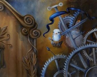 Original Exquisitely-Framed Oil Painting 19.5x15.5 Surreal Cuckoo Clockwork - Delve