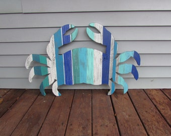 XL Wood Crab. Crab Sign.  Coastal Crab Wall Art. Beach Crab. Crab Decor. Nautical Decor. Beach Decor. Made to Order