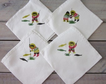 Vintage Linen Napkins with Eskimo Fishing Designs Set of Four