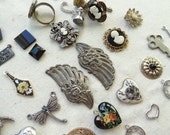 Vintage Jewelry Destash. Cameo. Wings.  Findings. Rhinestone Findings. Victorian. Art Deco. Gold and Black Findings. D10