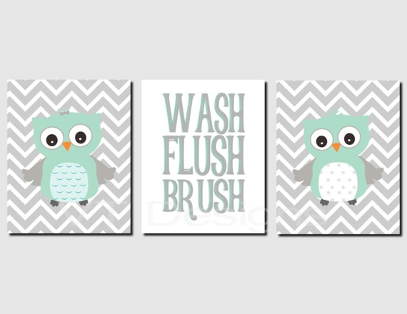 Mint Gray Bathroom Wall Art Owl Bathroom Decor Kids Bathroom