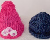SALE, Pink or Blue Warm Hat for Children, Handmade Hats, Knitted Hats, Gift for Boy or Girl, Gift under 10 Dollars, Knitted Hats on SALE