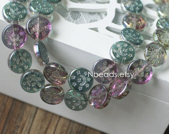 Carved Coin Beads 15mm, Green Rose Sparkle, (#GM012-1) /35 beads