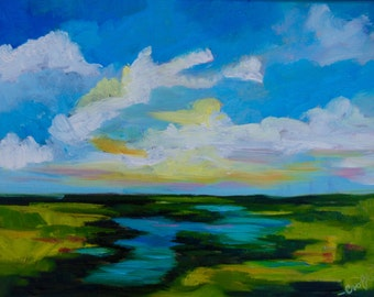 Modern Impressionist Original Oil Abstract Landscape by Rebecca Croft