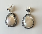 Baroque Pearl Jewelry, Weddings Jewelery, White Pearl Earrings ,Swarovski Stone Earrings, Sterling Silver Earrings