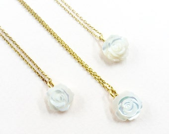 Mother Of Pearl White Rose Stone, Sterling Silver, Yellow Gold Necklace, Weddings , Bridesmaid, Mariage, Maid of honor