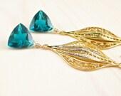 Teal Quartz Earrings, Peacock Teal Blue Earrings, Gold Teal Quartz Earrings, Teal Dangle, Bali Gold Vermeil Earrings, Teal Gemstone Dangle