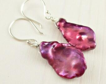 Keishi Pearl Earrings, Sterling Silver Keshi Pearl Earrings, Magenta Pearl Earrings, Bright Pink Petal Pearl June Birthstone, Pearl Drop