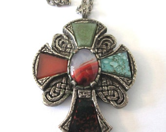 Vintage Celtic cross pendant, Great Britain, medieval cross, silver and faux agates and glass stones