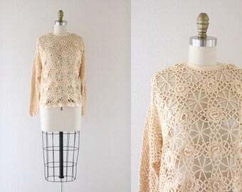 S A L E cotton crochet sweater / one size