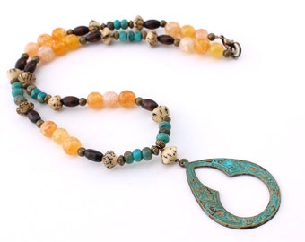 Patina Pendant Necklace, Yellow, Turquoise, Brown
