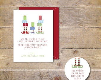 Christmas Cards, Holiday Cards, Elf, Elves, New Baby, Christmas Baby, Silhouettes, Handmade, Baby, Baby Announcements