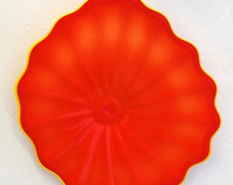 Beautiful Hand Blown Glass Art Wall Platter Bowl 6962 Orange  ONEIL