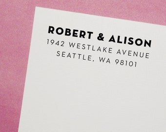 Return Address Stamp, Custom Stamp - Style #04, Wood Mounted or Self-Inking Address Stamp, Wedding Invitation Stamp, Personalized Stamp