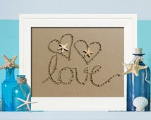 Beach Love Sign Sign - Housewarming Gift- Beach Cottage Artwork - Christmas Gift for Her - Birthday Gift for Her - Unique Beach Wedding Gift
