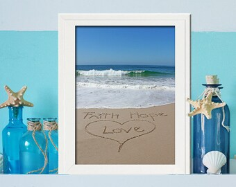 Faith Love Hope Sign - Baptism Gift - Unique Wedding Gift- Inspirational Sign - - Blue Ocean- Office Decor- Housewarming Gift- Wedding Gift