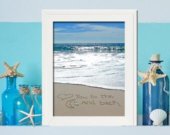 Love you to the moon and back wall art- New Baby Gift -beach theme nursery decor -ocean baby shower - unique beach nursery decor -